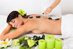Woman receiving lastone massage Stock Photo