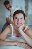 Woman receiving leg massage from physiotherapist Royalty Free Stock Photography