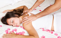 Woman receiving massage Royalty Free Stock Image