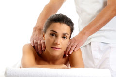 Woman receiving massage relax treatment portrait. Man woman massage relax treatment close-up portrait from male hands stock photography