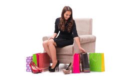 The woman receiving new shoes as present. Woman receiving new shoes as present Stock Photography