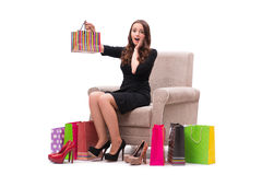 The woman receiving new shoes as present. Woman receiving new shoes as present Royalty Free Stock Image