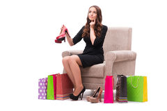 The woman receiving new shoes as present. Woman receiving new shoes as present Royalty Free Stock Photography