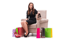 The woman receiving new shoes as present. Woman receiving new shoes as present Royalty Free Stock Images