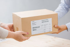 Woman receiving package from a delivery man Royalty Free Stock Images