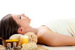Woman receiving spa procedures Stock Photo