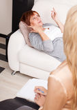 Woman on reception at the psychotherapist Stock Photo