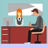 Woman receptionist and businessman signing at office reception desk. stock illustration