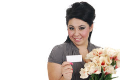 Woman recieving flowers Royalty Free Stock Photo