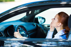 Woman reckless driving Stock Photos