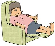 Woman On A Recliner. This illustration depicts a tired woman sitting in a recliner with a TV remote and drink Royalty Free Stock Image