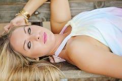 Woman reclining Royalty Free Stock Photo