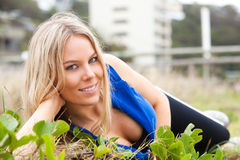 Woman Reclining in the Grass stock image