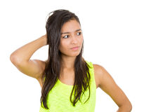 Woman recollecting Royalty Free Stock Image