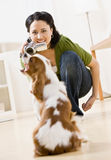 Woman recording dog with video camera Royalty Free Stock Photo