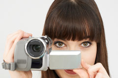 Woman Recording On Portable Video Camera Stock Photography