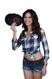 Woman with 45 records Stock Photos