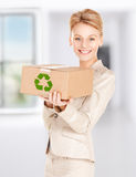 Woman with recyclable box Stock Photography