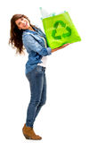 Woman with a recycle bag Stock Image