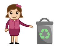 Woman With Recycle Bin Royalty Free Stock Photos