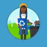 Woman with recycle bin and trash can. Stock Photo
