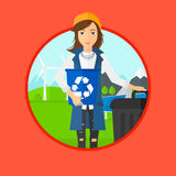 Woman with recycle bin and trash can. Stock Photos
