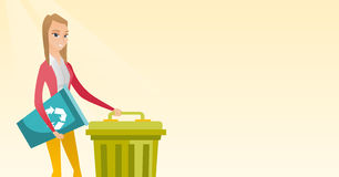 Woman with recycle bin and trash can. Royalty Free Stock Images