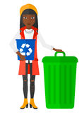 Woman with recycle bins Royalty Free Stock Image