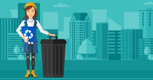 Woman with recycle bins. Stock Photo