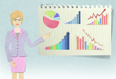 Woman  recycled paper craft Stock Images