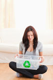 Woman with recycling bin Stock Photos