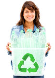 Woman recycling bin Royalty Free Stock Photo