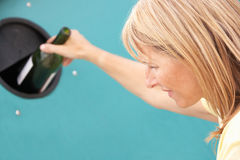 Woman At Recycling Centreng At Bottle Bank Stock Photos