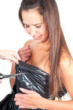 Woman in recycling dress Royalty Free Stock Photo