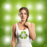 Woman With Recycling Symbol Looking on Camera Stock Photos