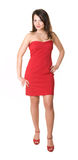The woman in red. Woman in red dress. Isolated. White background Stock Photography