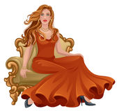Woman in red. Dress sit on a vintage armchair Stock Photos
