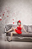 Woman in red Stock Image
