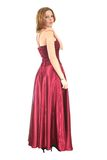Woman in red. Gown on white background Royalty Free Stock Photos