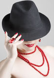 Woman with red accessories. Beautiful woman portrait. Fashion art photo Royalty Free Stock Images