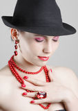 Woman with red accessories Royalty Free Stock Photo