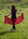 Woman And Red Ahawl Royalty Free Stock Photography