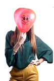 Woman with Red Air Balloon on white Stock Images
