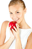 Woman With Red Apple Stock Photo