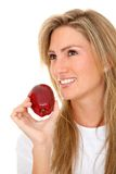 Woman with a red apple Royalty Free Stock Images