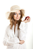 Woman with a red apple Stock Photography
