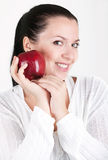 Woman with red apple Royalty Free Stock Photography
