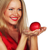 Woman and red apple royalty free stock photography