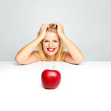 Woman and red apple Stock Photos