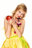 Woman with red apple. Royalty Free Stock Photos